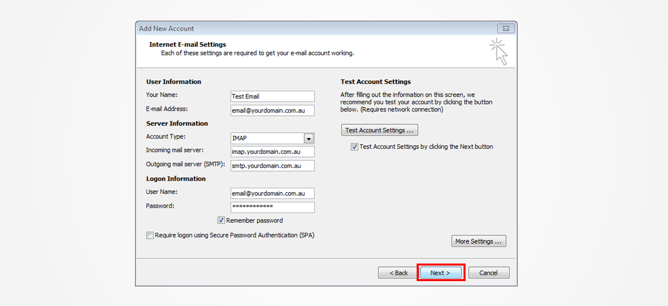 Step 10/12. How do I set up my email in Microsoft Outlook 2010?