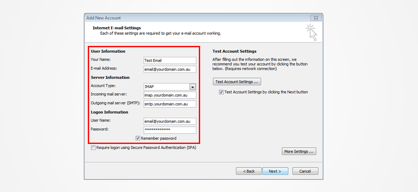 Step 6/12. How do I set up my email in Microsoft Outlook 2010?