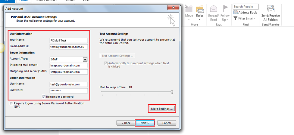 Step 8/12. How do I set up my FX mail for Microsoft Outlook 2013/365 ?